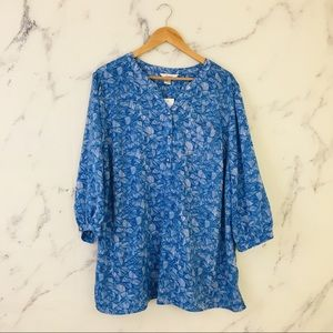 Christopher Banks Blue 3/4 Sleeve Peasant Blouse